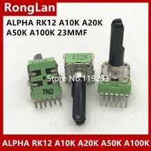 [SA]Taiwan ALPHA RK12 Potentiometer A10K A20K A50K A100K 23MM axis.–10PCS/LOT