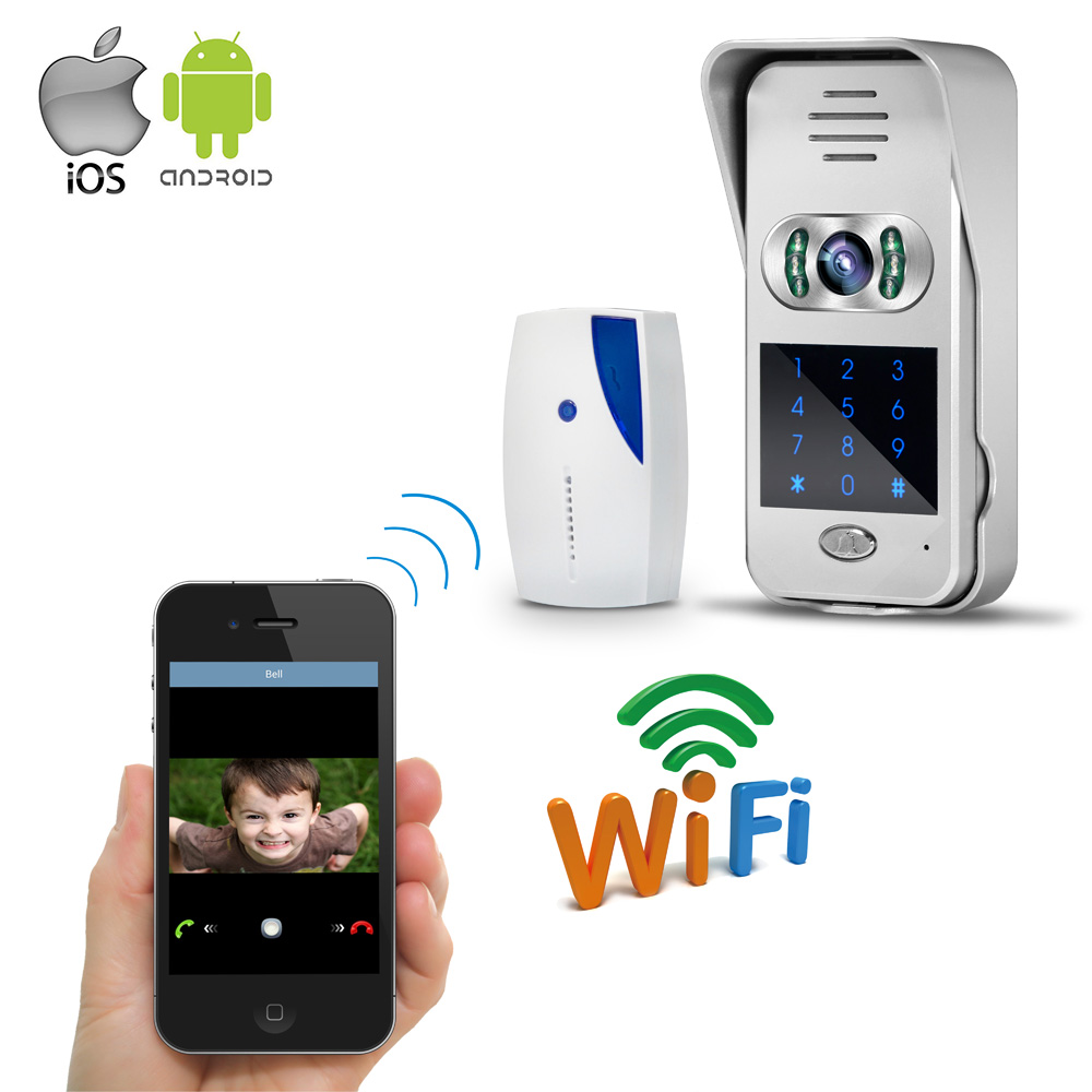 Free Shipping Wireless Wifi Doorbell 720P Video Intercom Door Phone for Phone Remote View / Unlock Touch Code Keypad WHOLESALE 7inch 2 4ghz wireless intercom unlock video door phone with 3camera