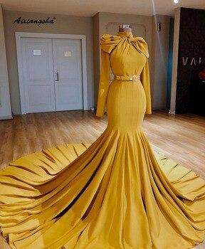 2019 New Listing Long Evening Dresses 2019 High Collar Sleeves Belt Floor Length Evening Dress Formal Party Dresses De Soiree