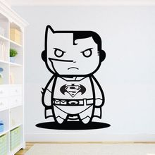 Batman Wall Sticker Superhero Inspiration Decal Kids Boys Room Decor Superman VS Art Mural Cartoon AY1281
