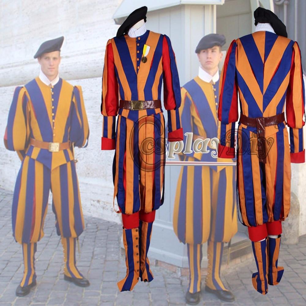 Switzerland Soldiers Cosplay Costume Papal Swiss Guard Uniform Carnival costume
