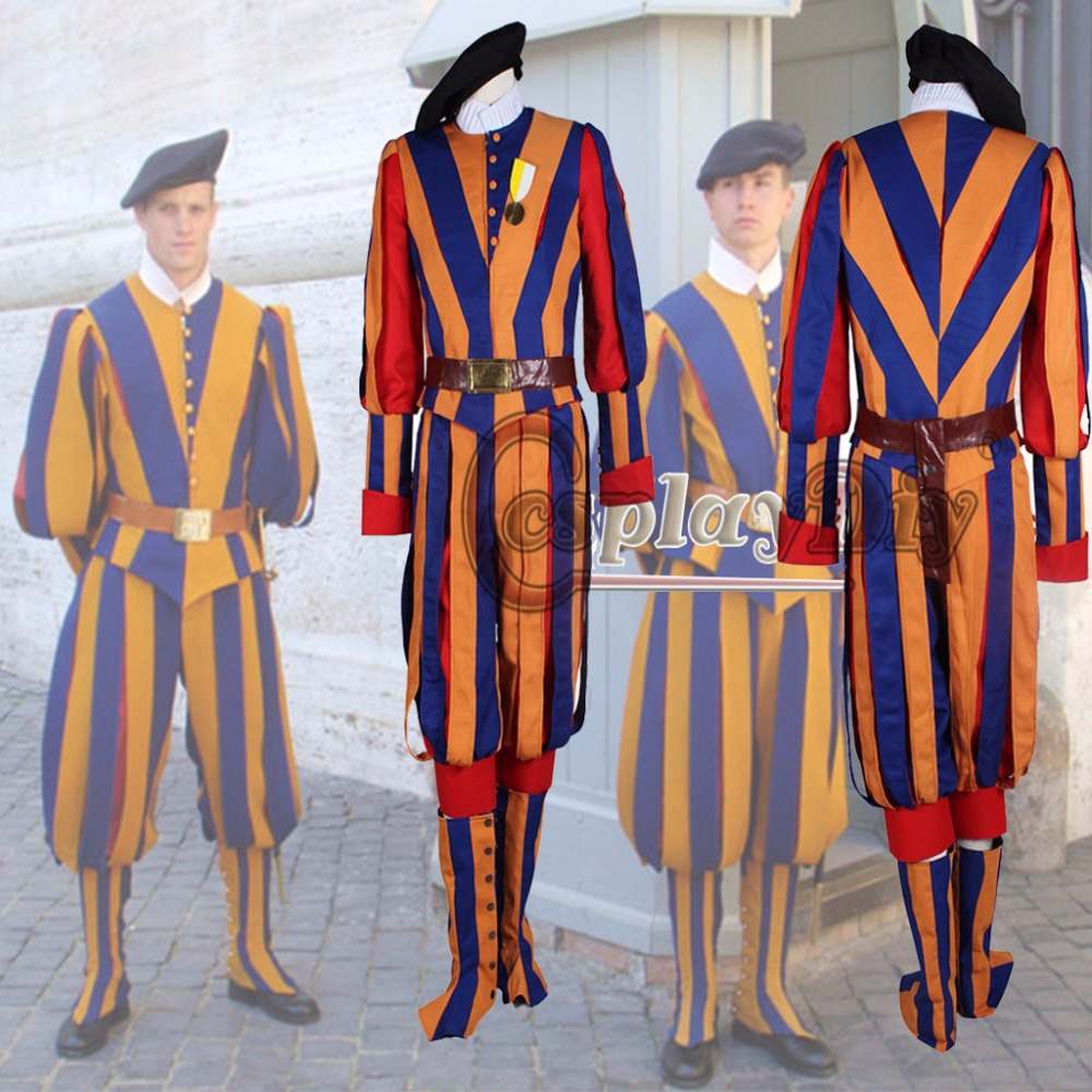 Custom Made Carnival Switzerland soldiers costume for adult men and women unisex cosplay costume swiss guard uniform D0221
