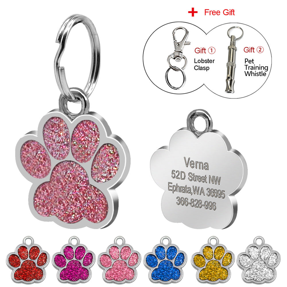 Glitter Paw ID Tag Pet Kustom Terukir Dog & Cat Paw Print Tag Nama Pribadi Tag Nomor Telepon