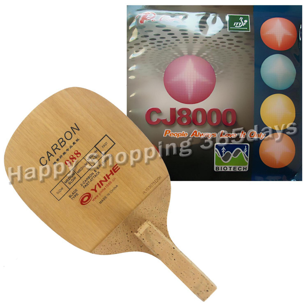 Pro Table Tennis PingPong Combo Racket Galaxy YINHE 988 With Palio CJ8000 BIOTECH 2-Side Loop Type H36-38 Japanese Penhold JS