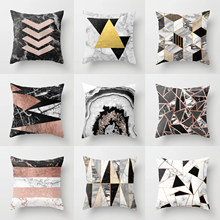 Decorative Christmas Throw Pillow Case Grey Geometric Marble Luxury Gold Desginer Cushion Cover 45x45cm Boho Car Sofa Home Decor(China)