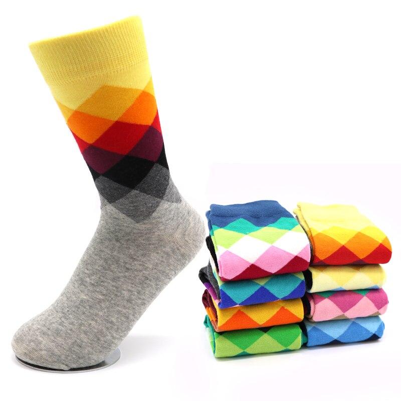 3Pair Male Socks Diamond Meias Masculinas Winter Warm Socks Chaussettes Homme Lot Colorful Christmas Socks Men Calcetines