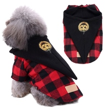 Cute Red And Black Plaids Clothes Pet Dog Halloween Coat Cosplay Set For Small And Medium Dogs Funny Pumpkin Hat Plaids Jacket juqi christmas coat hat for pet dog red white black size l