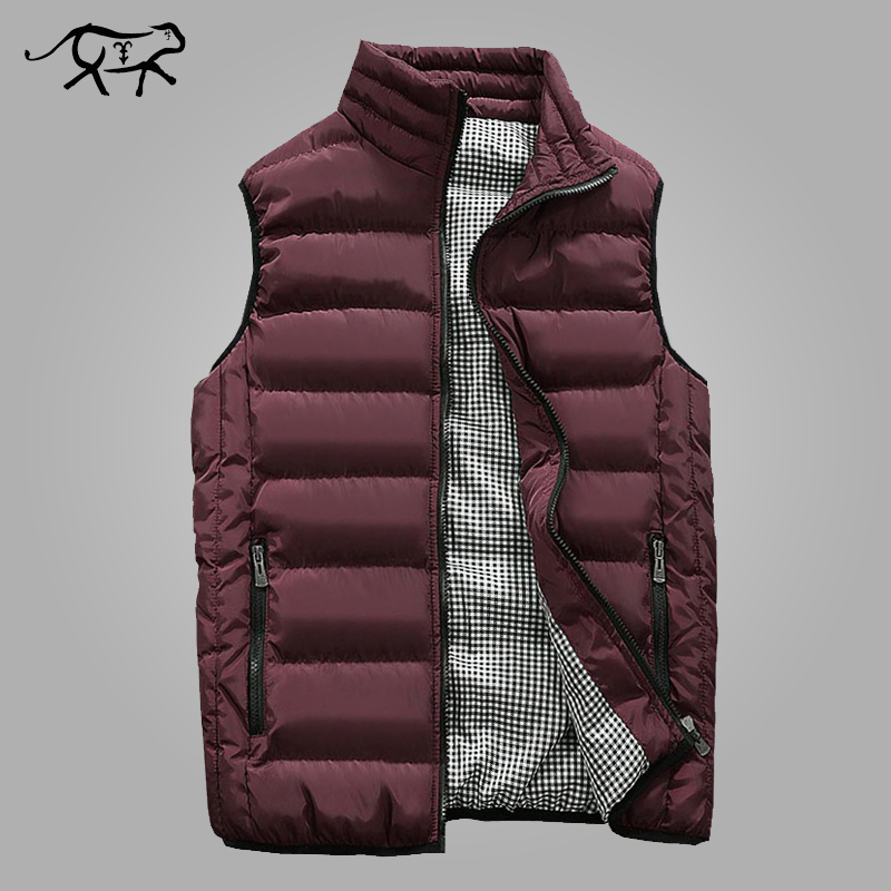 Autumn Vest Men Fashion Stand Collar Men's Sleeveless Jackets Casual Slim Fit Cotton Pad Coats Man Winter Waistcoats Plus Size