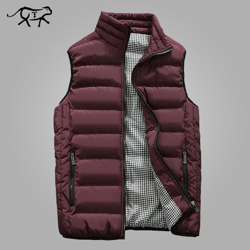 Herbst Weste Männer Mode Stehen Kragen männer Ärmellose Jacken Casual Slim Fit Baumwolle Pad Mäntel Mann Winter Westen Plus größe