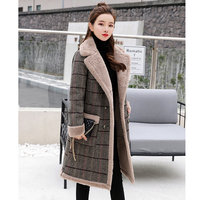 Long Wool Coat England Double Breasted Thicken Plaid Trench Outerwear Woolen Coat Fashion Winter warm cashmere Jacket Winter