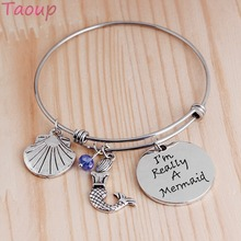 Taoup 1pc Little Mermaid Birthday Bracelet Party Decors for Girls Kids Babyshower Hawaiian Favors Shell Pendants Wedding