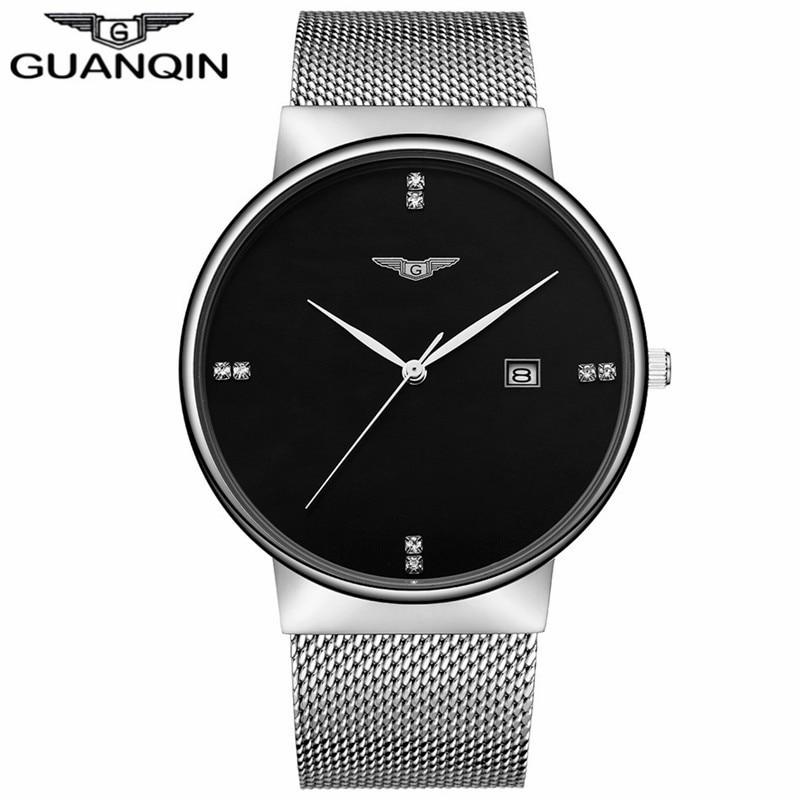 ФОТО GUANQIN GS19054 Top Luxury Brand Watch Men Watches Men's Business Stainless Steel Mesh Strap Waterproof Quartz Wristwatch