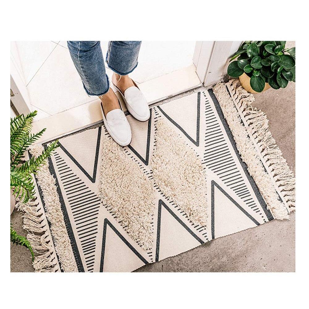 Les petits tapis imprimés tissés à la main de coton du maroc ont tufté des glands avec l'anti tapis de jet de protection de dérapage tapis lavable de bain de Machine, tapis de paillasson - 6
