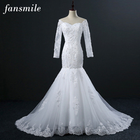 Fansmile Vintage Vestidos De Novia Lace Mermaid Wedding Dresses Long Sleeve 2017 Plus Size Bridal Wedding