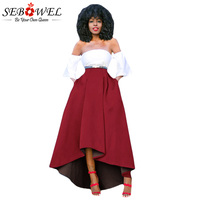 Sebowel Winter Thicken Warm A Line Skirt High Low Women Maxi Skirts Womens Vintage Long Puff