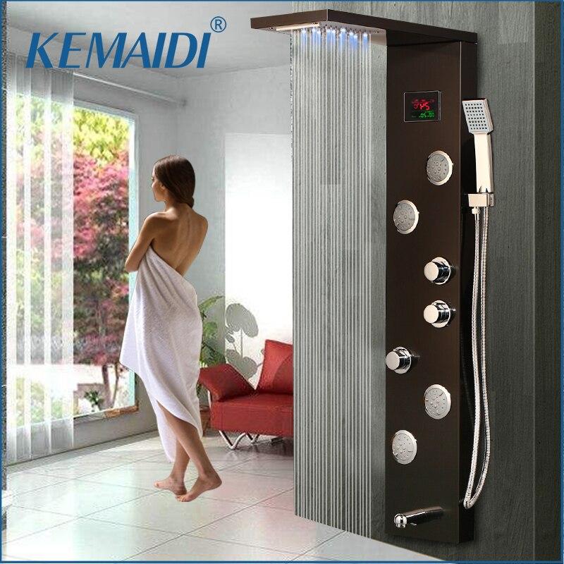 KEMAIDI LED Shower Panel Body Massage System Jets Black Shower Column Faucet Bath Shower Faucet Temperature