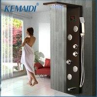 KEMAIDI душ со светодиодом панель средства ухода за кожей массаж системы струй черный душ колонковый смеситель для ванной смеситель для душа т