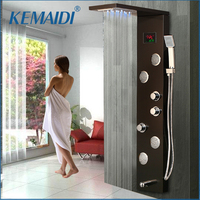 KEMAIDI LED Shower Panel Body Massage System Jets Black Shower Column Faucet Bath Shower Faucet Temperature Digital Display