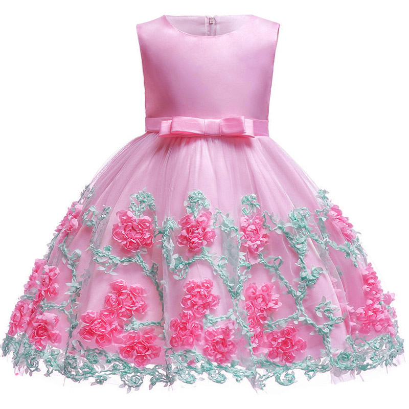 Latest styles 0-10 year Kids girl Sweet flower dress Princess Girl Party Birthday Festive dress Beautiful lovely banquet dress latest styles autumn