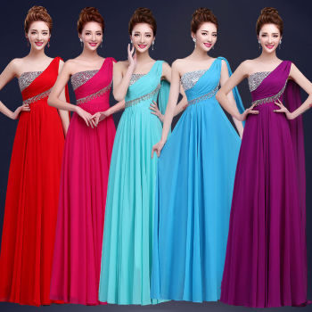 Fashion beautiful girl Floor-Length 2016 New Long Chiffon One-Shoulder A-Line Formal Gown Ball Party Prom Dress