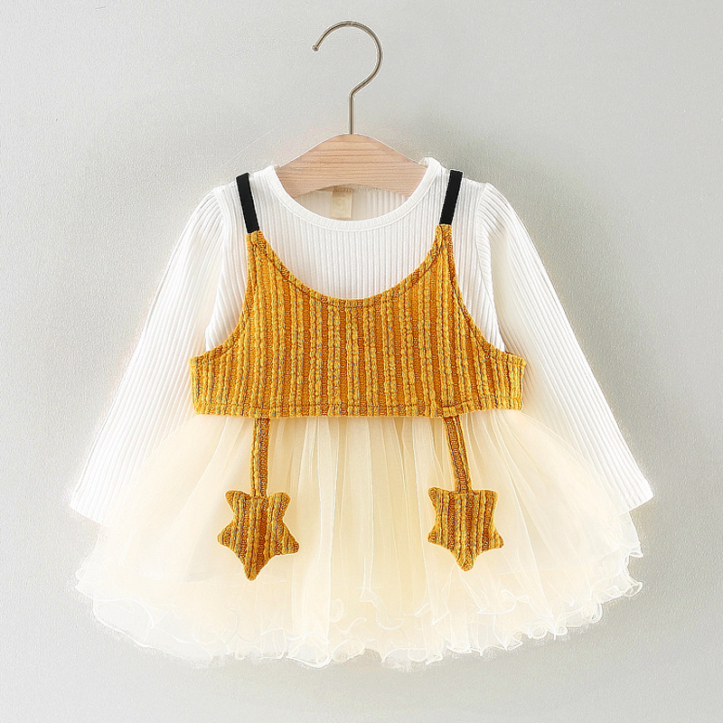 New Baby Girl Dress Kids Long Sleeved Dress Baby Princess Dress  Baby Girl Clothes