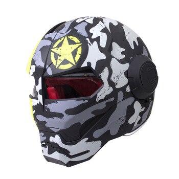 HEROBIKER Motorcycle Helmet Vintage Retro Crash Chopper Cafe Racer Moto Helmet Motocross Motorbike Full Face Helmet