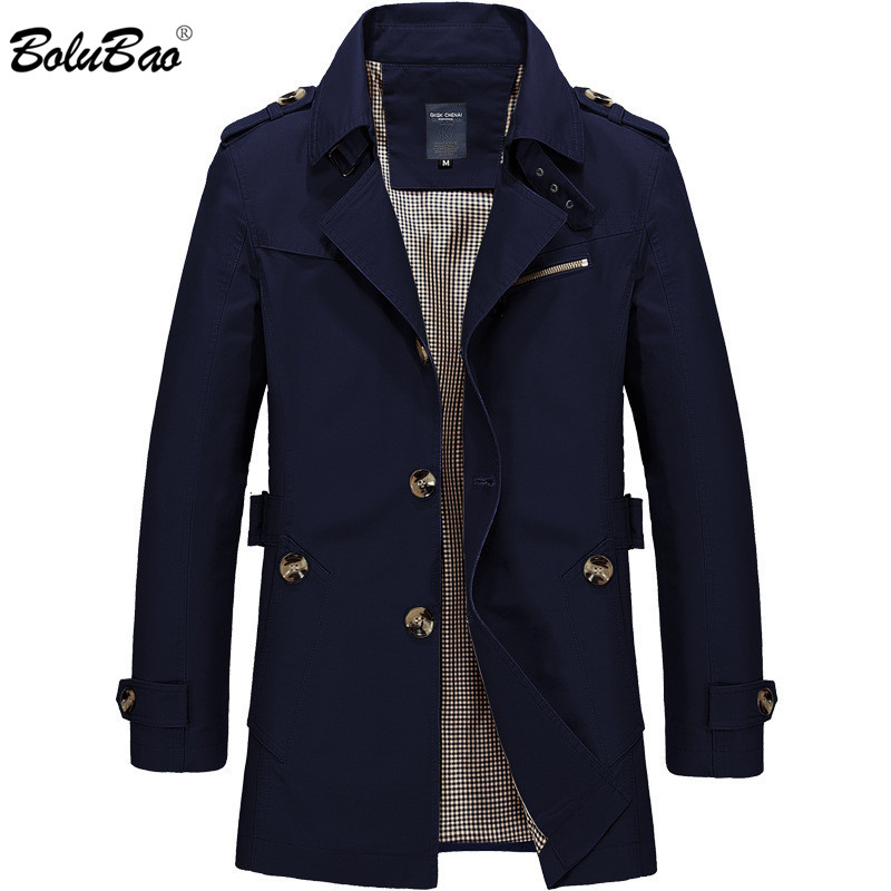 BOLUBAO New Men Fashion Jacket Coat Spring Brand Men's Casual Fit Wild Overcoat Jacket Solid Color Trench Coat Male 1