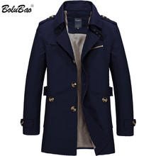 Bolubao Men Trench Coat Spring Casual Fit Overcoat Jacket Outerwear Male