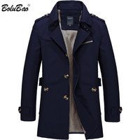 BOLUBAO Men Jacket Coat Long Section Fashion Trench Coat New Autumn Brand Casual Fit Overcoat Jacket Outerwear Male