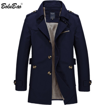 BOLUBAO New Men Fashion Jacket Coat Spring Brand Men's Casual Fit Wild Overcoat Jacket Solid Color Trench Coat Male