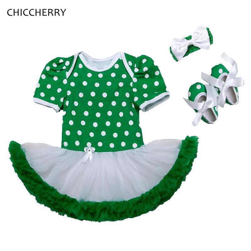 Happy St Patricks Day Girls Outfit Polka Dot Green Lace Petti Romper Dress Headband Crib Shoe Newborn Tutu Sets Infant Clothing