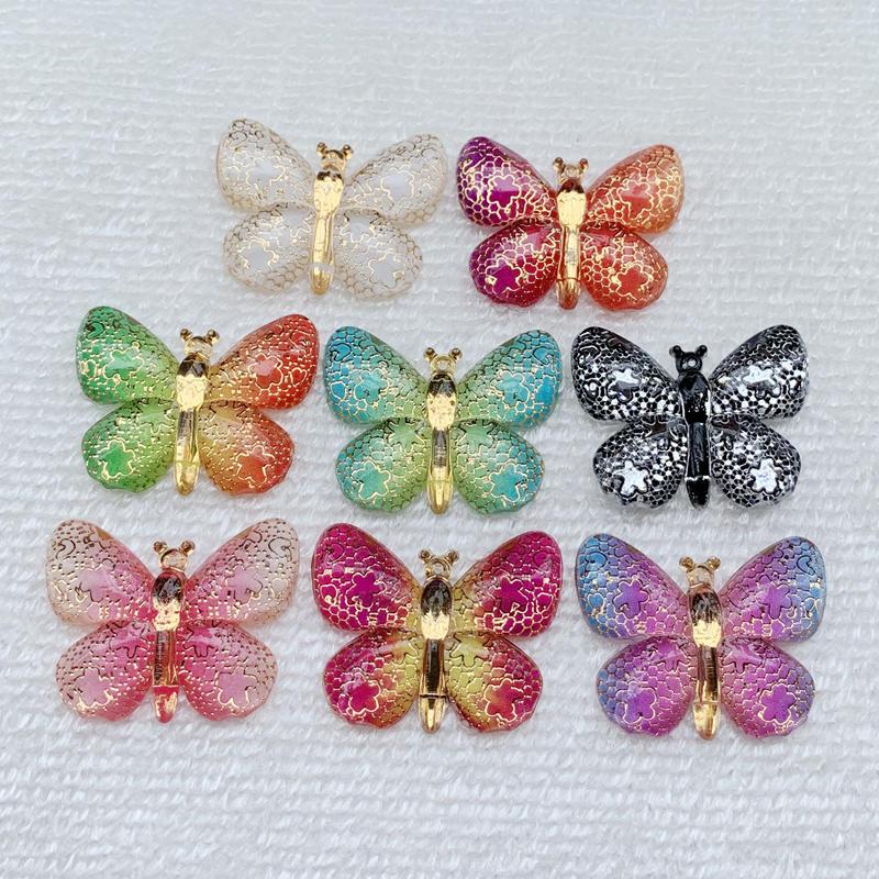Mixed Color Big Butterfly DIY Diamond Flat Back Rhinestone Handmade Kits Animal Pattern Home Decoration 25*32mm 10pcs -A19A