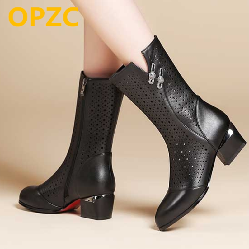 OPZC 2018 New Women's Genuine Leather Summer Boots Mesh Hole Hollow Breathable Hole Riding fashion boots women shoes 2018 new summer casual genuine leather hollow flat shoes green black women shoes comfortable and breathable hole shoes obuv