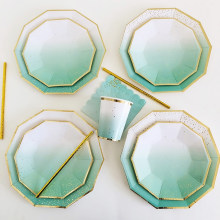 40pcs Green Gradient Disposable Tableware Sets Paper Plates Cups Napkins Favor Drinking Straws Wedding Party Decor Baby Shower(China)