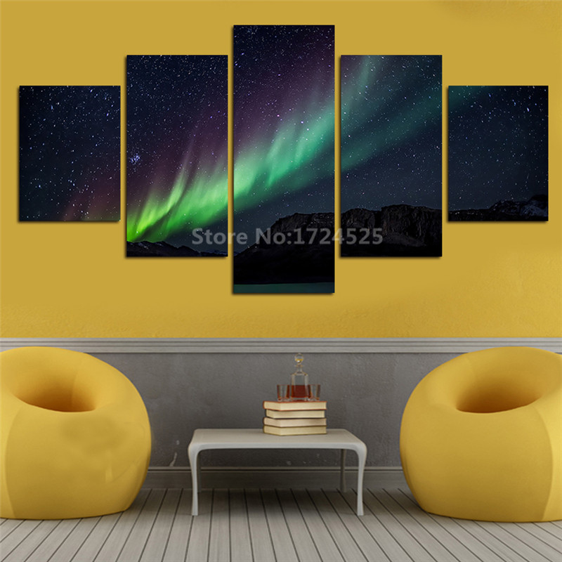 5 Pcs Wall Art Landscape Canvas Paintings Home Decor Night Sky Stars ...