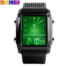 Модные мужские часы, спортивные часы, двойное время, Цифровые Кварцевые водонепроницаемые, светодиодный, с Цветной подсветкой, повседневные мужские наручные часы
