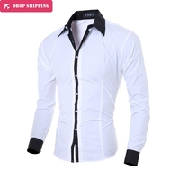 Mannen Shirt lange mouw Merk 2017 mannelijke slim fit Effen jurk shirt Wit hawaiian mannen formele heren shirts XXL, G7453