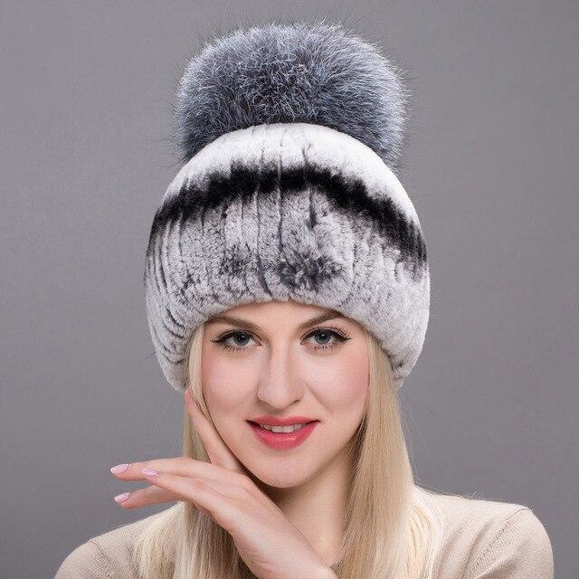 e2d3e751f3c9a Autumn Winter Real Rabbit Fur Hat Female Natural Furry Fox Hair Ball  Russian Hat New Winter Warm Hat Real Rabbit Fur Fashion New