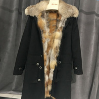 Natural Fox Fur Liner Winter Jacket Women 2018 Womens Down Coats Army Green Black Parka Large Real Raccoon Fur Collar Free DHL