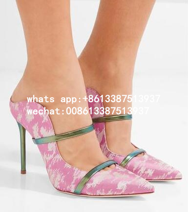 Free Shipping Summer 2017 Hot Women Pink/Gold/Blue Pointed Toe Sexy Slip On Thin Heels Dress Party Shoes Slippers Shoes Lady hot sell free shipping seraph of the end krul tepes pink long clip ponytail cosplay party wig hair