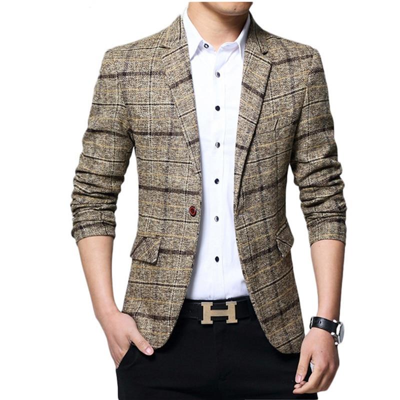 2018 Fashion Men Business Plaid Blazer Casual Stripes Slim Fit Blazers Men Top Qiality Lattice Formal Jacket Popular Dress Suit