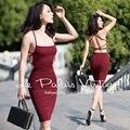 БЕСПЛАТНАЯ ДОСТАВКА Le Palais Vintage СПЕЦИАЛЬНОЕ ПРЕДЛОЖЕНИЕ 2016 Лето Новый прибытие Sexy Красное вино с Высокой Талией Спинки Тонкий Платье Женщины одежда