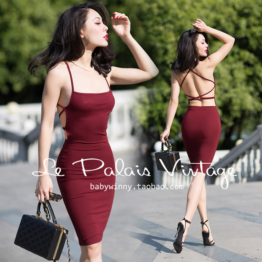 FREE SHIPPING Le Palais Vintage SPECIAL OFFER 2016 Summer New Arrival Sexy Wine Red High Waist Backless Slim Dress Women Clothes
