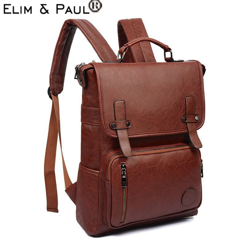 PU Backpack Male Leather Leisure School Bag Men Travel Bag School Boy Vintage Backpacks Bags Solid Feminina sac a dos homme 2018 new backpacks softback bolsa feminina backpack canvas sac a dos homme school bag travel military laptop rucksack