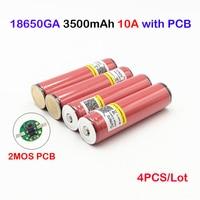 ncr18650ga 3500mah for sanyo ncr18650ga protected 3.6V 10A Flat Top Rechargeable Batteries NCR18650GA 3500mAh with PCB 4pcs ma14