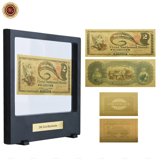 Wr 1875 Year 2 Dollar American Gold Banknote Home Decorative Fake Money Currency Bill Note With