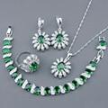 925 Libras Esterlinas Conjuntos de Jóias de Prata Para As Mulheres Criado Verde Esmeralda Branco Topázio Brincos Pulseira Anéis Colar de Pingente de Caixa Livre