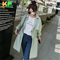 One size Spring Solid long Women Trench Coat Cotton Pleated Skirt Trench For Women Single Breasted Autumn Coat