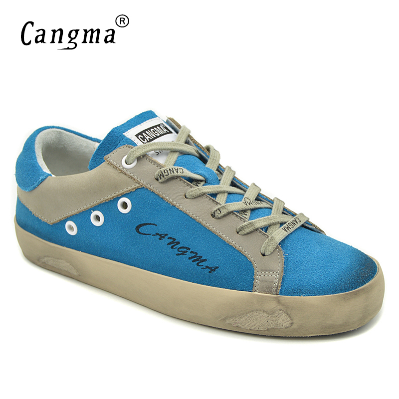 CANGMA Sneakers Woman Brand Shoes Genuine   Leather     Suede   Shoes Female Blue Breathable Female Shoes Adult Custom Footwear Casual
