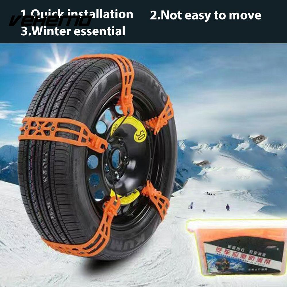 Vehemo Anti-Skid Chains Snow Chain Snow Tire Belt 1 Pc TPU Thickened Emergency Roadway Safety Truck SUV Mud Wheel Durable